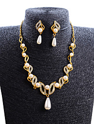GROUP Women's Fashion New Wild Pearl Ncklace Earrings Set
