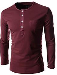Men's Casual/Work/Sport/Plus Sizes Print Pocket Long Sleeve Regular T-Shirts (Cotton)