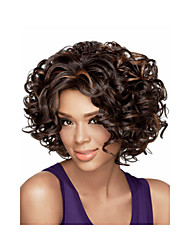 2015 Synthetic African American Wigs, Short Kinky Curly Hair Brown Wigs