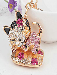 Cat Rhinestone Wedding Keychain Favor