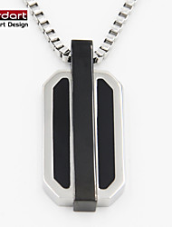 316L Stainless Steel Pendant with Black Enamel IP Black with Steel Chain Necklace for Unisex