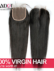 "8-20"" Malaysian Straight Lace Closure Size 4x4 Natural Black Free Middle 3 Part Virgin Remy Human Hair Lace Top Closures"