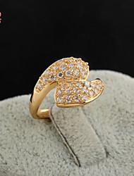 KuNiu Women's High Quality Classic 18K Gold Plated Filled Clear Crystal Rings J0350