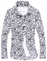 Men's Fashion Print Slim Long Sleeved Shirt