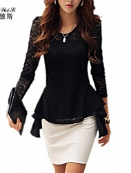 NUO WEI SI ®  Women's Round Neck Lace  Split Joint Chiffon Shirt