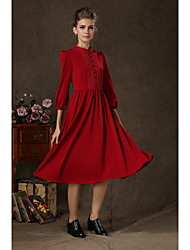 Women's Solid Red Dress , Work Cowl ½ Length Sleeve