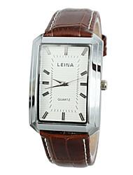 Men's Business Style Gold Case Leather Band Quartz Wrist Watch (Assorted Colors)