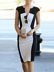 Женщины получили Труд короткий рукав платья (хлопок)