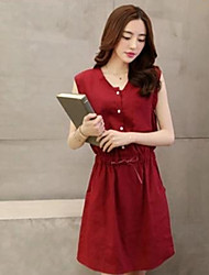 Women's Casual Solid Color Sleeveless Knee-length Dress (Linen)