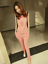 Women's Chiffon  Knitting Sleeveless  Jacket   And Cultivate  Pants Suit