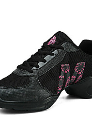 Women's Dance Shoes Sneakers Breathable Synthetic Low Heel Black/White