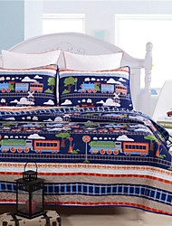 Cartoon Design Twin Size Coverlet for Kids Quilted 1pc of quilt with 2pcs of Pillow cases