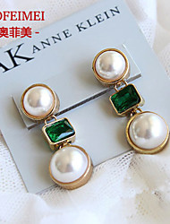 Pearl earring green crystal temperament banquet
