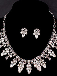 Vintage Women's Silver/Alloy Wedding/Party Jewelry Set Flower Necklace Earring Drop Diamond For BridalImitation Diamond Birthstone