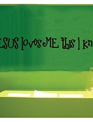 Jesus Loves Me i mknow cette citation stickers muraux zooyoo8020 décoratif décoration murale mur amovible en vinyle autocollants