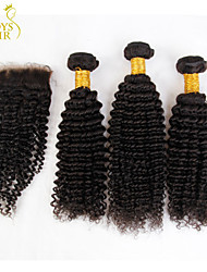 3 Bundles Mongolian Kinky Curly Virgin Hair With Closure Unprocessed Human Hair Weave And Free/Middle Part Lace Closures