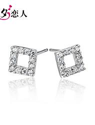 July 7th 925 Sterling Silver Earrings Ear Female Lovers Cube Cute Korean Sterling Silver Earrings with Diamond