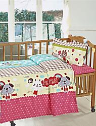 Animal Design Pink Cotton Baby Girl Baby Bedding Set