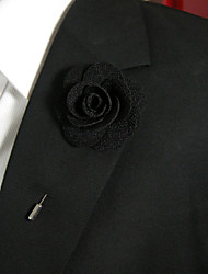 Men's Casual Black Silk Goods Brooch