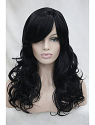 "New Jet Black 22"" Long Side Skin Part Top Women's Synthetic Bangs Curly Wig"