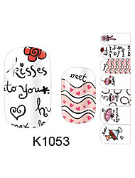 Fashion Sweet Love Coffee Cartoon Summer Nail Decal Art Sticker Gel Polish Manicure Beautiful Girl