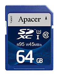 Apacer 64Go Classe 10 / UHS-I U3 SD/SDHC/SDXCMax Read Speed95 (MB/S)Max Write Speed45 (MB/S)