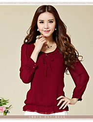 Women's Lace Blue/Pink/Red/Black Blouse , Round Neck Long Sleeve