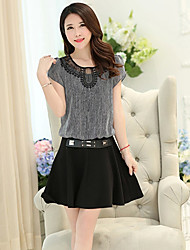 Women's Casual/Daily Plus Size Dress Short Sleeve Black Summer