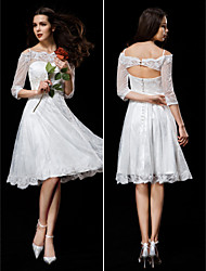 Lanting A-line Wedding Dress - Ivory Knee-length Off-the-shoulder Lace