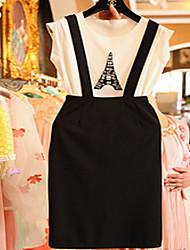 sem mangas ocasional micro-elástica na altura do joelho blusa das mulheres&conjunto saia (misturas de algodão)