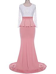 fulldress Women's Sexy Round Long Sleeve Dresses (Cotton Blend)