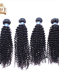 "4Pcs Lot 12-26"" Unprocessed Malaysian Virgin Hair Kinky Curly Wavy Curly Natural Black Remy Human Hair Weave/Bundles"