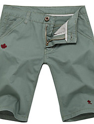 U-Shark Men's Summer Slim Casual&Fashion Grey Green Cotton Shorts Cropped Pants with Maple Leaf Embroider