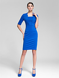 Cocktail Party Dress - Ruby/Royal Blue Sheath/Column Square Knee-length Polyester