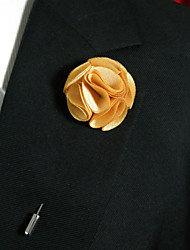 Men's Casual Saffron Yellow Silk Goods Brooch