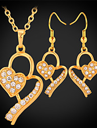 U7® women's New 18K Gold Plated Necklace Earrings Austrian SWA Rhinestone Jewelry Sets
