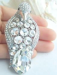 Women Accessories Silver-tone Clear Rhinestone Crystal Brooch Art Deco Penguin Brooch Scarf Pin Women Jewelry
