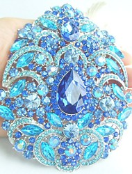 Women Accessories Silver-tone Blue Rhinestone Crystal Flower Brooch Art Deco Crystal Brooch Bouquet Women Jewelry