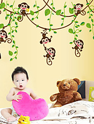 Wall Stickers Wall Decals, Cartoon Monkey Climbing PVC Wall Stickers