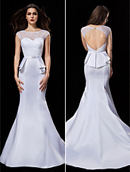 Trumpet/Mermaid Wedding Dress - White Court Train Jewel Satin