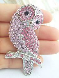 Women Accessories Silver-tone Pink Rhinestone Crystal Brooch Art Deco Bird Owl Brooch Women Jewelry