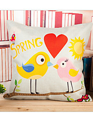 The New Personality Flax Printing Cushion for Leaning on of Cartoon Love Bird Pillowcase