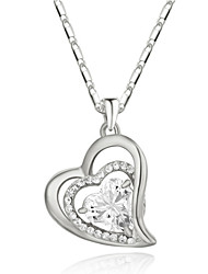 18k White Gold Plated Clear Cubic Zirconia Simulated Diamond Heart Pendant Necklace