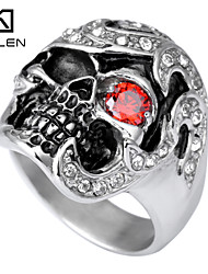 Kalen Men's Jewelry One Red Eye Tone Gothic Style Men Steel Skull Ring