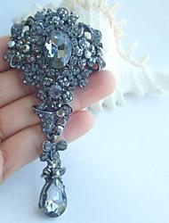 Women Accessories Gray Rhinestone Crystal Flower Brooch Art Deco Crystal Brooch Bouquet Women Jewelry