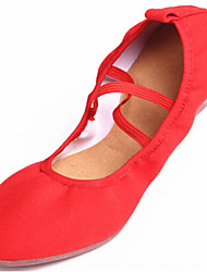 Women's Dance Shoes Sneakers Canvas Low Heel Red/Black