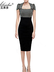 Women's Work Bodycon Dress,Striped / Geometric / Color Block / Check / Patchwork Square Neck / Cowl / Asymmetrical Knee-lengthShort