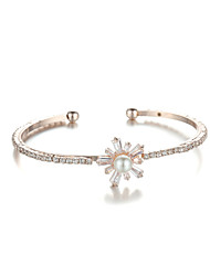 Sjewelry Girls White Pear Flower Rose Gold Plating Bracelet