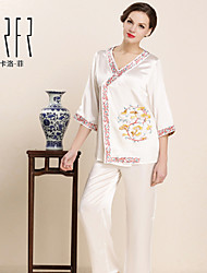 KRFR®Women's 100% Silk Medium Pajama Embroidery Pajamas