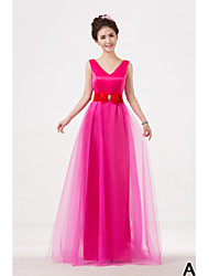 Floor-length Mix & Match Sets Bridesmaid Dress - A-line High Neck / One Shoulder / Strapless / V-neck with